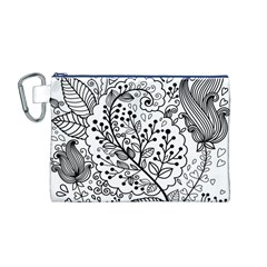 Black Abstract Floral Background Canvas Cosmetic Bag (m)