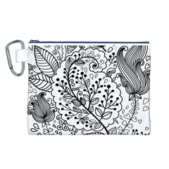 Black Abstract Floral Background Canvas Cosmetic Bag (L)