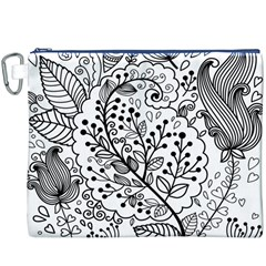 Black Abstract Floral Background Canvas Cosmetic Bag (xxxl)