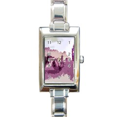 Abstract Painting Edinburgh Capital Of Scotland Rectangle Italian Charm Watch