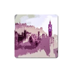 Abstract Painting Edinburgh Capital Of Scotland Square Magnet