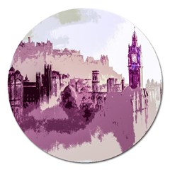 Abstract Painting Edinburgh Capital Of Scotland Magnet 5  (round)