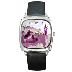 Abstract Painting Edinburgh Capital Of Scotland Square Metal Watch