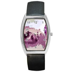 Abstract Painting Edinburgh Capital Of Scotland Barrel Style Metal Watch