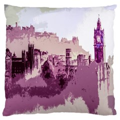 Abstract Painting Edinburgh Capital Of Scotland Large Cushion Case (Two Sides)