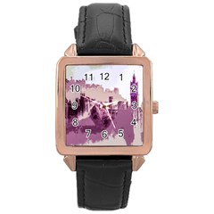 Abstract Painting Edinburgh Capital Of Scotland Rose Gold Leather Watch