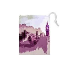 Abstract Painting Edinburgh Capital Of Scotland Drawstring Pouches (Small)