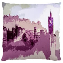 Abstract Painting Edinburgh Capital Of Scotland Large Flano Cushion Case (Two Sides)