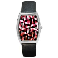 Red And Pink Abstract Background Barrel Style Metal Watch