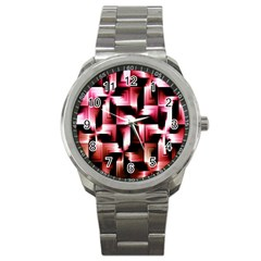 Red And Pink Abstract Background Sport Metal Watch