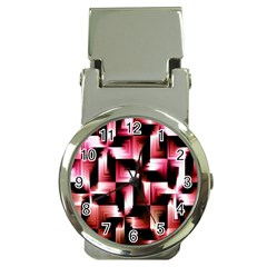Red And Pink Abstract Background Money Clip Watches