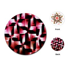 Red And Pink Abstract Background Playing Cards (round)