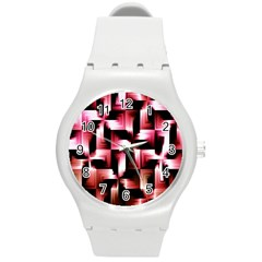 Red And Pink Abstract Background Round Plastic Sport Watch (M)