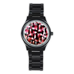 Red And Pink Abstract Background Stainless Steel Round Watch