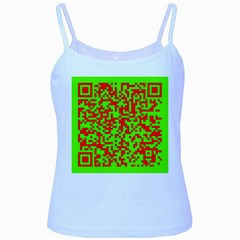 Colorful Qr Code Digital Computer Graphic Baby Blue Spaghetti Tank