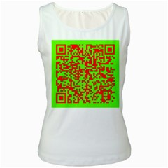 Colorful Qr Code Digital Computer Graphic Women s White Tank Top
