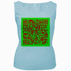 Colorful Qr Code Digital Computer Graphic Women s Baby Blue Tank Top