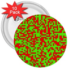 Colorful Qr Code Digital Computer Graphic 3  Buttons (10 Pack)