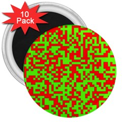 Colorful Qr Code Digital Computer Graphic 3  Magnets (10 Pack)