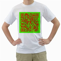 Colorful Qr Code Digital Computer Graphic Men s T Shirt (white) (two Sided)