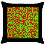 Colorful Qr Code Digital Computer Graphic Throw Pillow Case (Black) Front