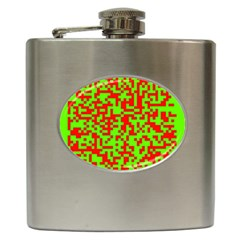 Colorful Qr Code Digital Computer Graphic Hip Flask (6 oz)