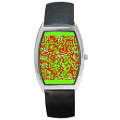 Colorful Qr Code Digital Computer Graphic Barrel Style Metal Watch