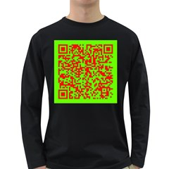 Colorful Qr Code Digital Computer Graphic Long Sleeve Dark T Shirts