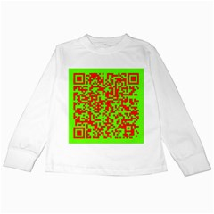 Colorful Qr Code Digital Computer Graphic Kids Long Sleeve T-Shirts