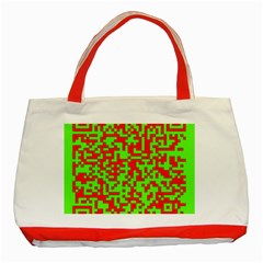 Colorful Qr Code Digital Computer Graphic Classic Tote Bag (red)