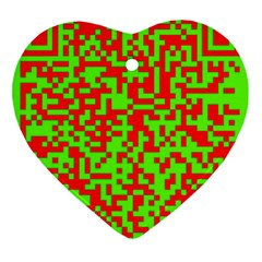 Colorful Qr Code Digital Computer Graphic Heart Ornament (two Sides)