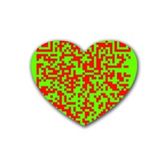 Colorful Qr Code Digital Computer Graphic Rubber Coaster (heart)