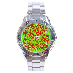 Colorful Qr Code Digital Computer Graphic Stainless Steel Analogue Watch