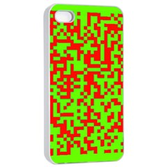 Colorful Qr Code Digital Computer Graphic Apple Iphone 4/4s Seamless Case (white)