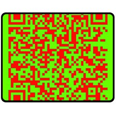 Colorful Qr Code Digital Computer Graphic Double Sided Fleece Blanket (Medium)