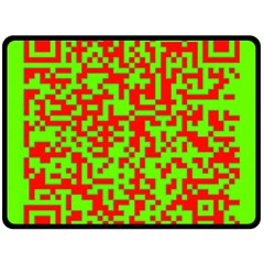 Colorful Qr Code Digital Computer Graphic Double Sided Fleece Blanket (Large)