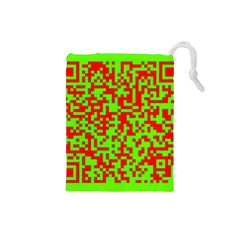 Colorful Qr Code Digital Computer Graphic Drawstring Pouches (Small)