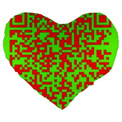 Colorful Qr Code Digital Computer Graphic Large 19  Premium Flano Heart Shape Cushions