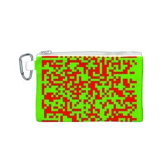 Colorful Qr Code Digital Computer Graphic Canvas Cosmetic Bag (S)