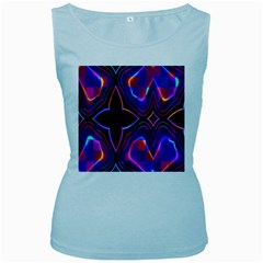 Rainbow Abstract Background Pattern Women s Baby Blue Tank Top