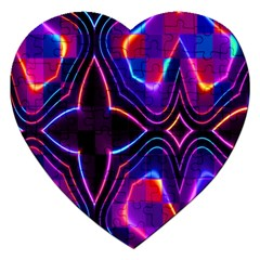 Rainbow Abstract Background Pattern Jigsaw Puzzle (heart)