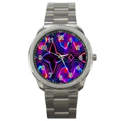 Rainbow Abstract Background Pattern Sport Metal Watch