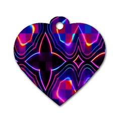 Rainbow Abstract Background Pattern Dog Tag Heart (one Side)