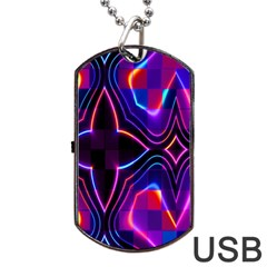Rainbow Abstract Background Pattern Dog Tag USB Flash (Two Sides)