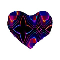 Rainbow Abstract Background Pattern Standard 16  Premium Flano Heart Shape Cushions