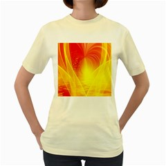 Realm Of Dreams Light Effect Abstract Background Women s Yellow T-Shirt