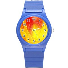 Realm Of Dreams Light Effect Abstract Background Round Plastic Sport Watch (S)