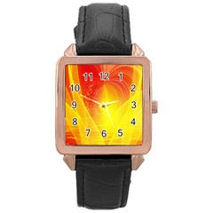 Realm Of Dreams Light Effect Abstract Background Rose Gold Leather Watch