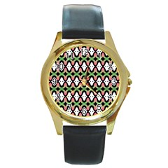 Abstract Pinocchio Journey Nose Booger Pattern Round Gold Metal Watch