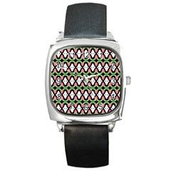 Abstract Pinocchio Journey Nose Booger Pattern Square Metal Watch